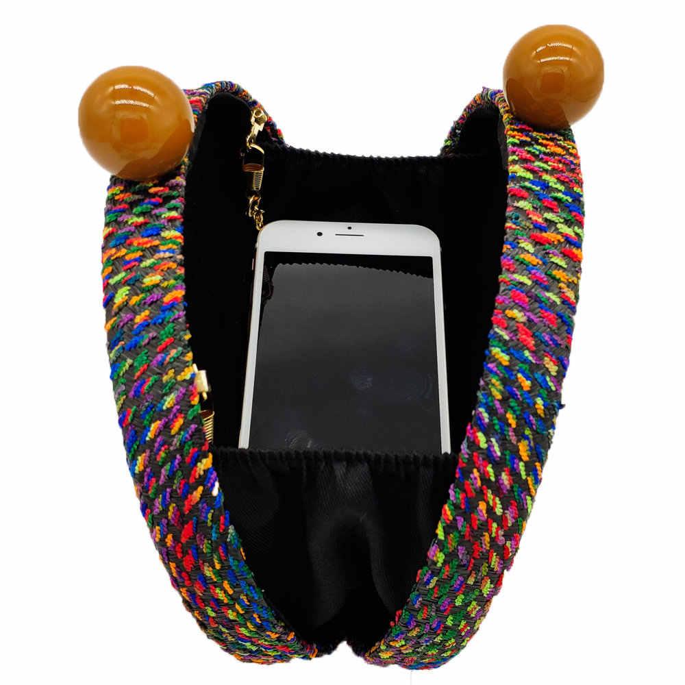 Женская круглая плетеная сумка Boutique De FGG, разноцветная вечерняя сумка-клатч с цепочкой, сумка через плечо, дизайнерский кошелек для вечеринок, 2019