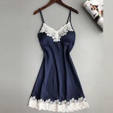 Nightdress Sexy Silk Satin Sleepwear Large Size Suspender Babydoll Nightgown V-neck Underwear With Chest Pads Lace Stitching
