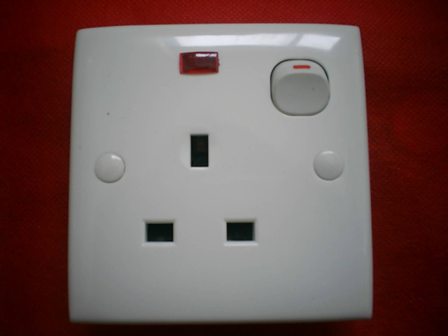 13A British tripartite foot wall outlet , Switch with indicating ...
