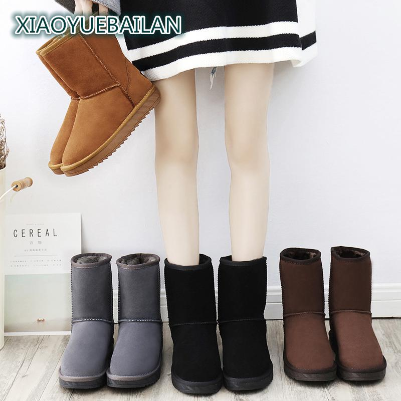 Winter Snow Boots With Thick Short Tube Slip Female Cashmere Nubuck Leather Boots Fashion Shoes Shoes All match Couple Bread