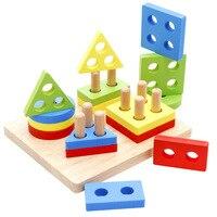 Simingyou 나무 장난감 어린이 교육 퍼즐 기하학 모양 Intellige 학습 도구 장난감 및 게임 WDX46 드롭 배송