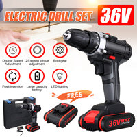 36V 5000mAh Cordless Electric Drill Rechargeable Battery Double Speed LED Screwdriver 25 Speed Torque Adjustment