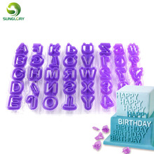 DIY 40PCS Fondant Cutter Cake Decorating Tools Plastic Cupcake Mold Upper Alphabet Capital Letters Number Cut-Outs Cookie