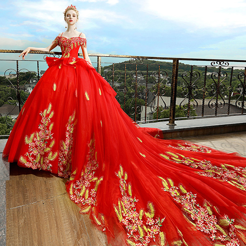 Mother & Kids Luxury Red Pregnancy Maternity Wedding Dresses Flower Court Great Gatsby Gown Gorgeous Robe De Mariee Bride Married Long Tailing