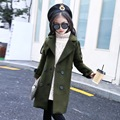 Fashion Wool & Blends for girl 2017 New Military Style Children Coat Long Girl Outerwear Long Sleeve Trendy Girls Clothing