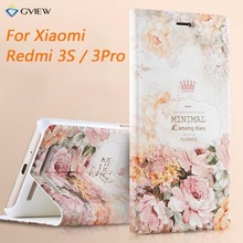 New Arrival Smart Case Cover For Xiaomi Redmi 3 Pro / 3S 3D Pattern Painted Luxury Flip Bracket Mobile Phone Bags +Free Gift