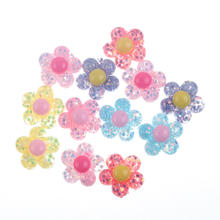 50Pcs Mixed Clear Resin Flowers Decoration Crafts Flatback Cabochon Embellishments For Scrapbooking Cute Accessories(China)