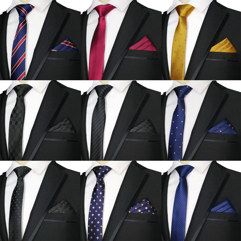 2019 New Skinny 5CM Men's Neck Tie Set Polyester Necktie & Handkerchiefs Sets Plaid Polka Dot Slim Narrow Ties Wedding Party