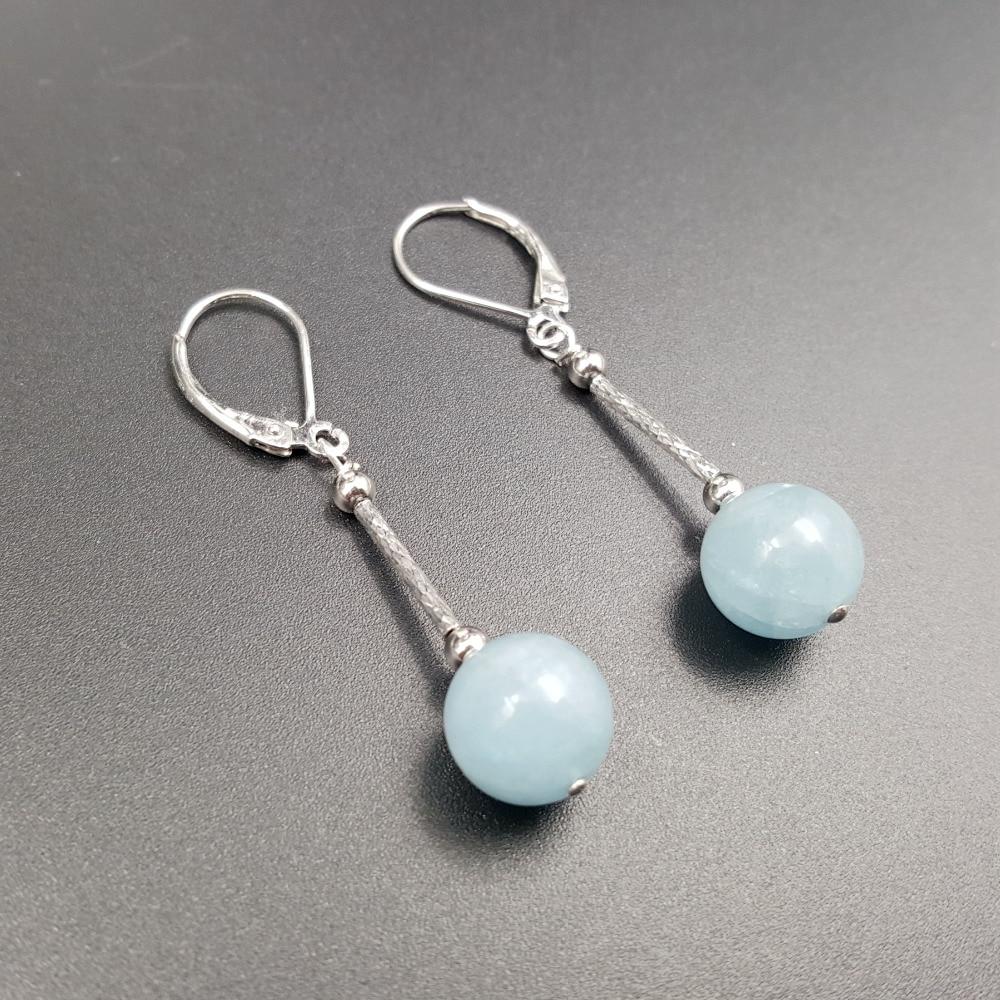 Lii Ji Aquamarine Beads,925 sterling silver Drop Dangle Earrings