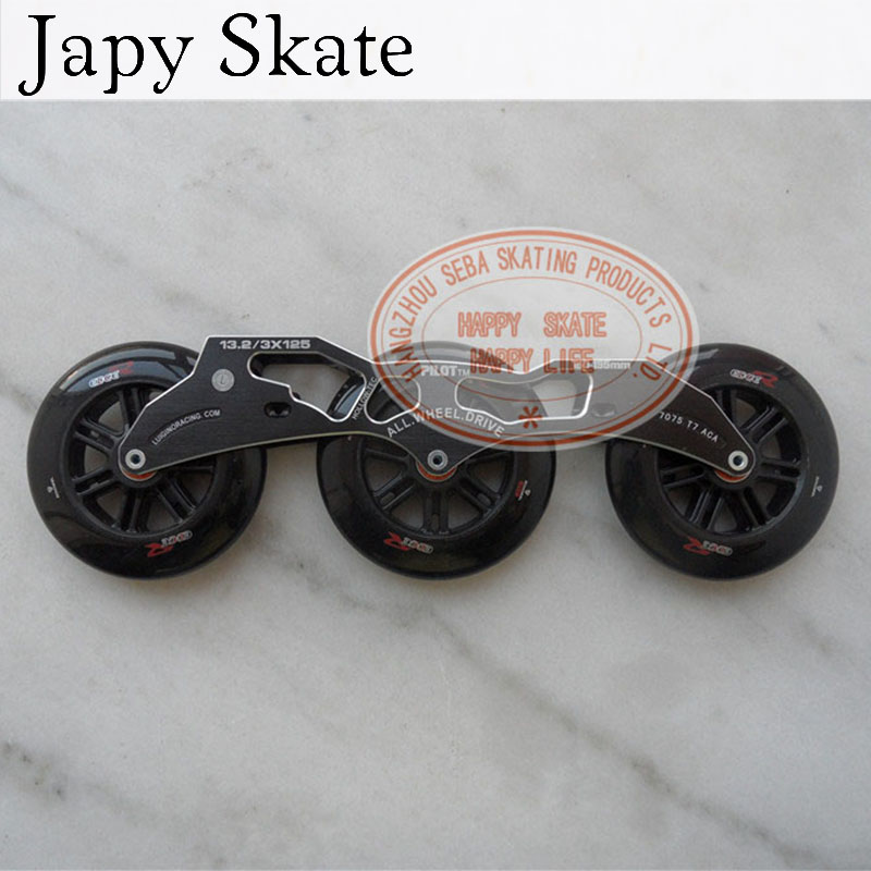 Japy Skate Pilot 3*125mm Speed Skating Frame With 125mm Edger Skating Wheels With ILQ-9 13.2 Inline Skates Basin 150mm-195mm 1piece ink supply station for hp designjet 510 510ps plotter ch336 67010