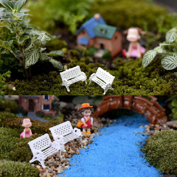 1Piece Mini White Bench Chair Seat Figurines & Miniatures Decoration Retro Style Fairy Garden Micro Landscape Table Decor