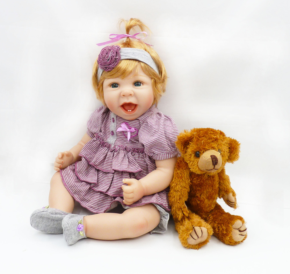 cute hapy fashion girl doll 50 cm silicone reborn baby dolls for girls with plush toys doll 20Inch Vinyl children toys for kids super cute plush toy dog doll as a christmas gift for children s home decoration 20