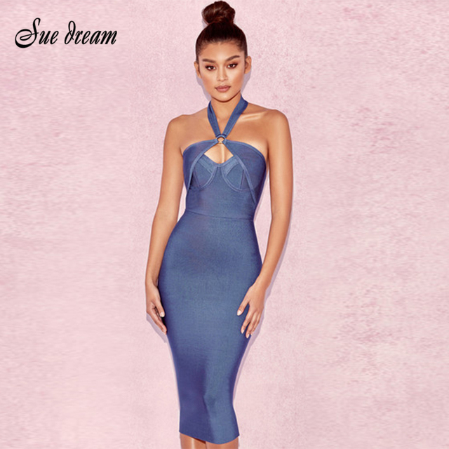 2018 Summer new women dress sleeveless halter neck bandage dress sexy  bodycon celebrity party hollow out navy dresses vestidos 15d8e4843219