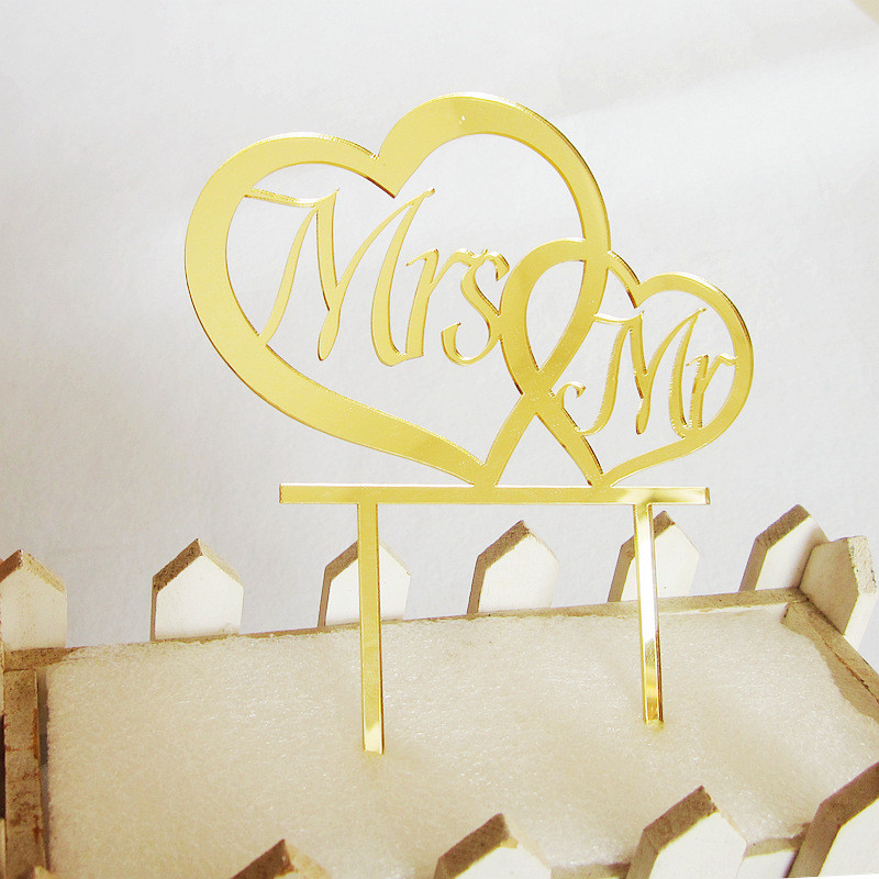 Simple Design Double Heart Acrylic Wedding Cake Topper Mr & Mrs ...