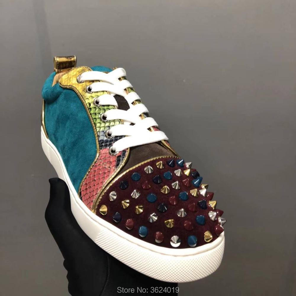 9beb37b3a8ba clandgz Blue Snake texture Lace-up Men multicolor Rivets Shoes Fashion  Party Red bottom Sneakers