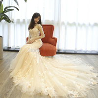 Luxury Mermaid Flowers Lace Appliques Evening Dress Long Sleeves Floor Length Prom Gown for Wedding Party Custom Made