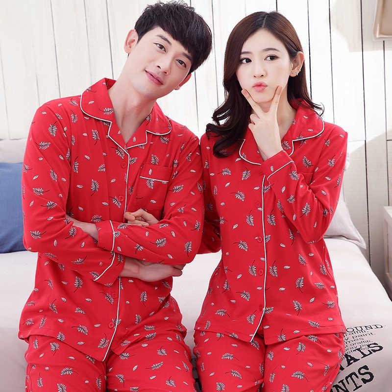 3ff9b4fb47 ... Couple pajamas set 100% cotton pajamas red pajamas spring and autumn men  and women long ...