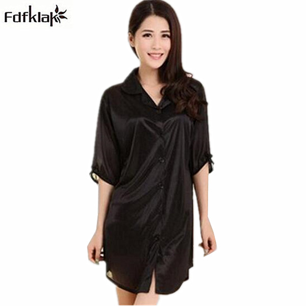 Women's   nightgown   short summer dresses for women casual ladies silk nightdress royal sleepwear   sleepshirt   chemise femme Q788