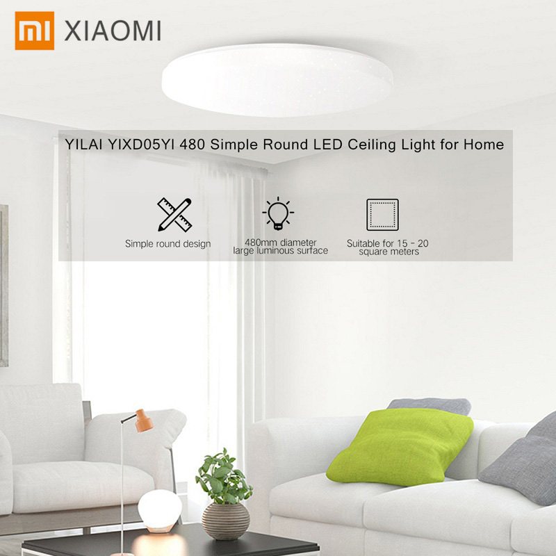 Xiaomi Yeelight YILAI YlXD05Yl 480 Simple LED ronde intelligent plafonnier Protection des yeux Mijia APP contrôle Surround lumière ambiante