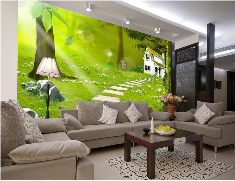 living grove wall wood background mural sofa landscape painting 3d custom tv