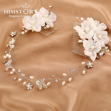 HIMSTORY Handmade Flower Double Haircomb White Pearl Crystal Wedding Hair Accessories Hairwear Tiara Hairpins Holiday Headdress
