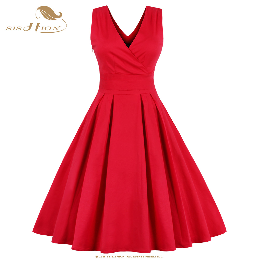 SISHION S-4XL Women Red <font><b>Dress</b></font> Double V Neck Swing Casual Retro <font><b>Vintage</b></font> <font><b>1950s</b></font> <font><b>60s</b></font> Rockabilly <font><b>Dress</b></font> Plus Size Tunic Vestidos VD410 image
