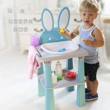 Children's Washbasin Baby Washstand Towel Bathroom Teeth Brushing and Hand Washing Table for Kids
