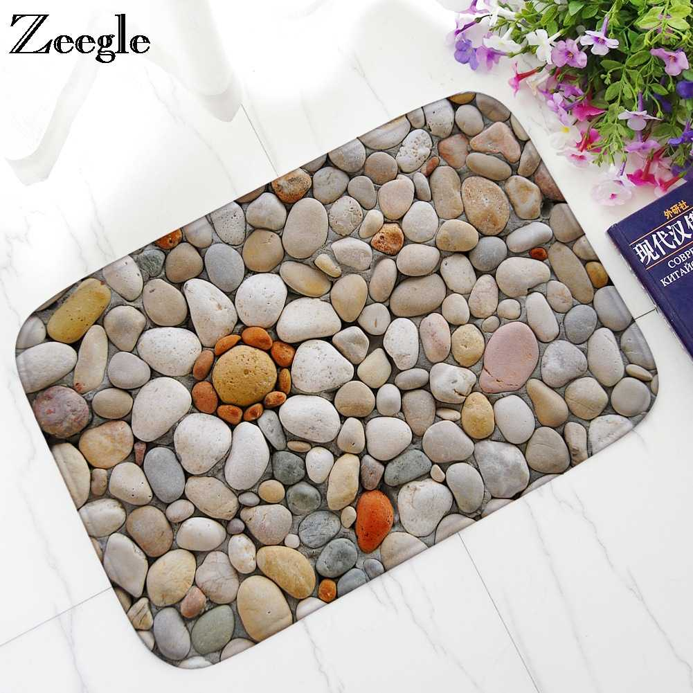 Zeegle Cobblestone Welcome Entrance Mats Flannel Absorbent ห้องน้ำชั้น Mats Doormat Non-slip Kitchen พรมพรมห้องนอน