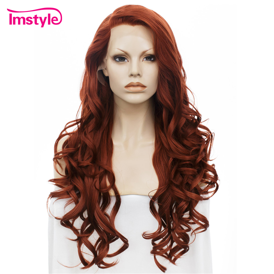Imstyle Wavy Long Dark Red Wig Lace Front Wigs For Women Synthetic Lace Hair Wig 26