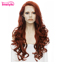 Imstyle Wavy Long Dark Red Wig Lace Front Wigs For Women Synthetic Lace Hair Wig 26 inch Heat Resistant Cosplay Wigs Dray Queen