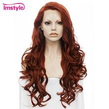 Imstyle peluca roja con encaje frontal para mujer, peluca larga ondulada sintética con encaje frontal, fibra resistente al calor, Cosplay sin pegamento, pelucas de jengibre