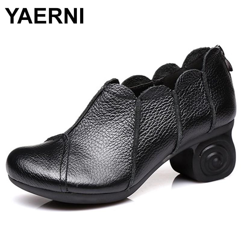 En Dames Noir Mode Cm Hauts rouge Chaussures Casual Gratuite Femme Vintage Talons E550 Cuir Véritable Épais Mère À Yaerni 6 n8F6PUqFx