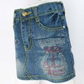 Kids Sheath Denim Skirts 3-7Y Children Blue washed Multi-Rhinestone Crystal buttons Zipper Girls Slim Pencil slinky skirt MH5931
