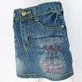 Niños Vaina Faldas de Mezclilla Los Niños 3-7Y Azul lavado de Múltiples botones de Cristal Rhinestone Niñas Cremallera Lápiz Delgado slinky falda MH5931