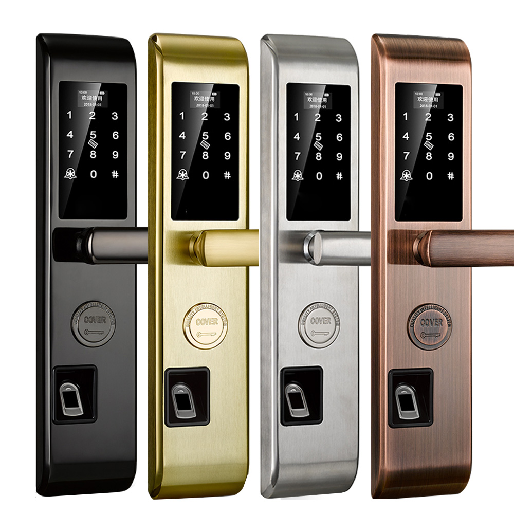 Biometric Fingerprint Smart Lock,Handle Electronic Door Lock,Fingerprint/RFID/Key Touch Screen Digital Password Lock wireless cylinder key locks biometric smart door lock digital electronic touch screen keyless fingerprint scanner door lock