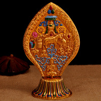 Vajrayana Buddhist Exquisite Pattern Carving Decorative Figurine Mysterious King of Wheel Eight Auspicious Symbols Alloy Crafts