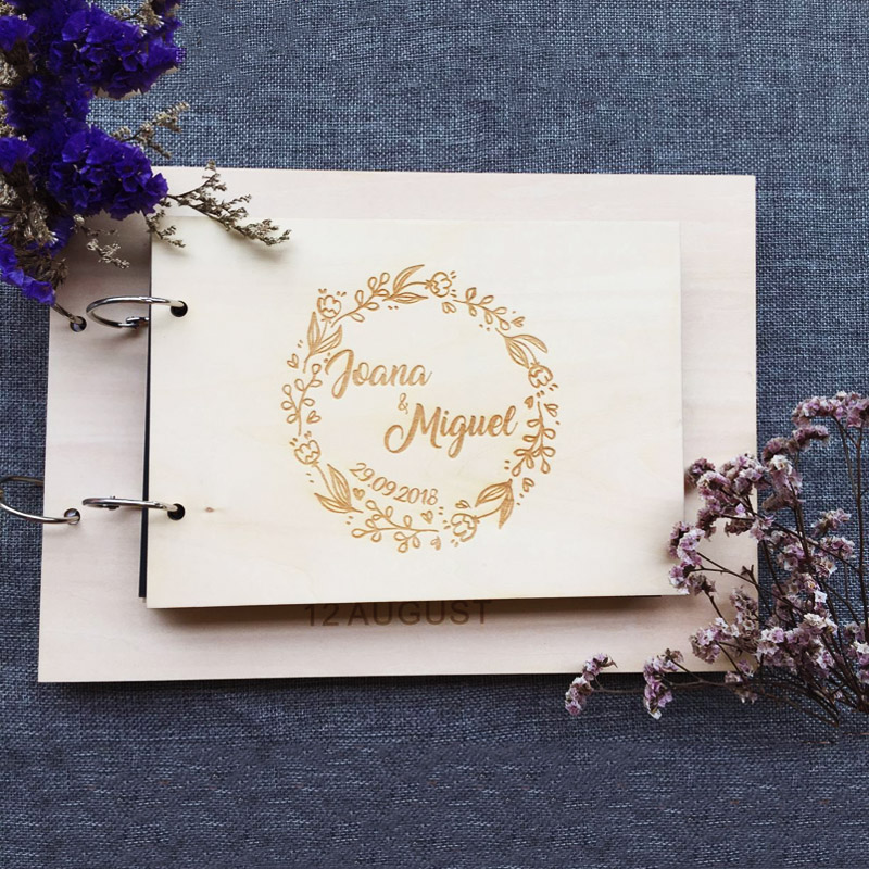Modern Wedding Guest Book Personalized Name And Date Guestbook Custom Wedding Decoration Guestbook Wooden Album Supplies