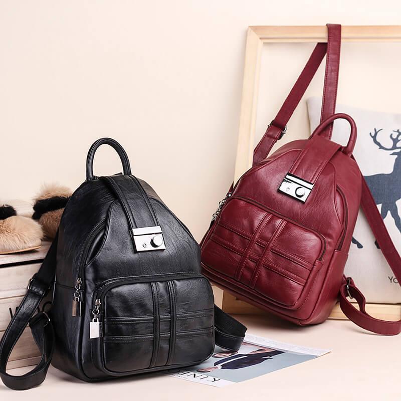 Купить с кэшбэком KULUOSIDI Women Multifunction Backpack PU Leather Shoulder Bag Large Capacity Backpack Female School Bag Girl Travel Bag Mochila