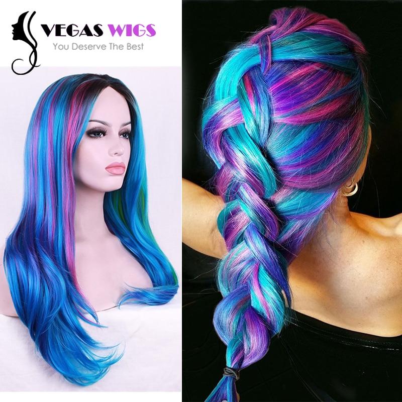 Vegaswigs 2016 New Trends Rainbow Blue Color Highlights Long