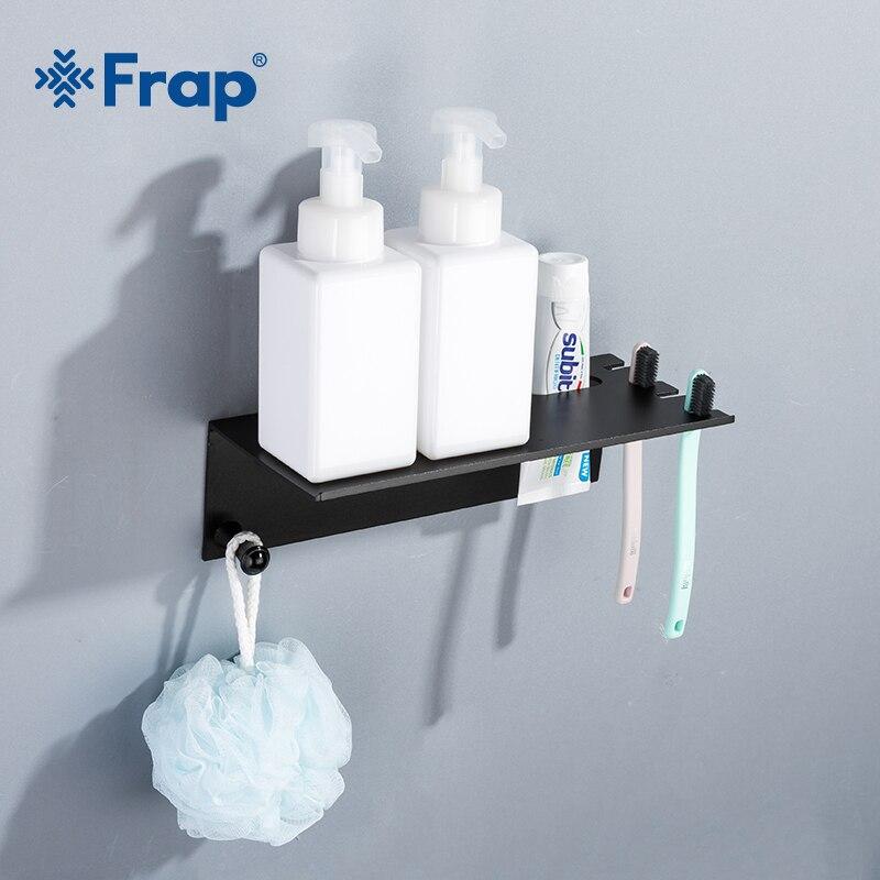 Frap Wall-mounted Bathroom Shelves Toothbrush Toothpaste Holder Storage Rack Space Aluminum Black Cellular Phone Shelves Y18077 цены онлайн
