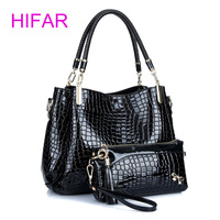 Hifar بورصة المرأة تمساح حقائب سيدة حقيبة + محفظة/محفظة carteras موهير قدرة كبيرة سوداء الأبيض الكتف كيت 2 bags