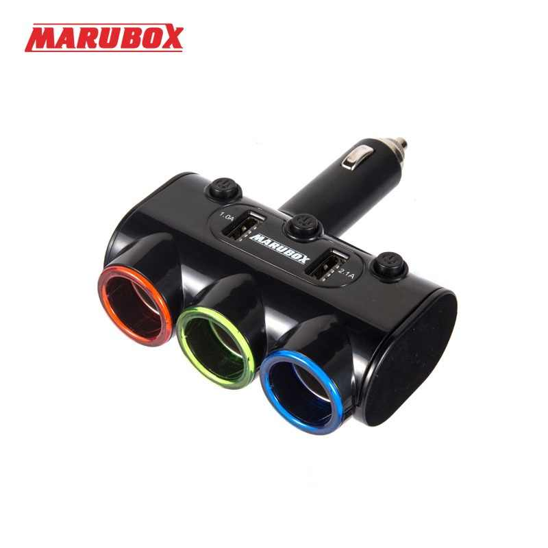 MARUBOX M10 12v-24v Rechargeable Electronic Dual USB Car Charger Power Adapter Auto 3 Ways Splitter Cigarette Lighter Socket