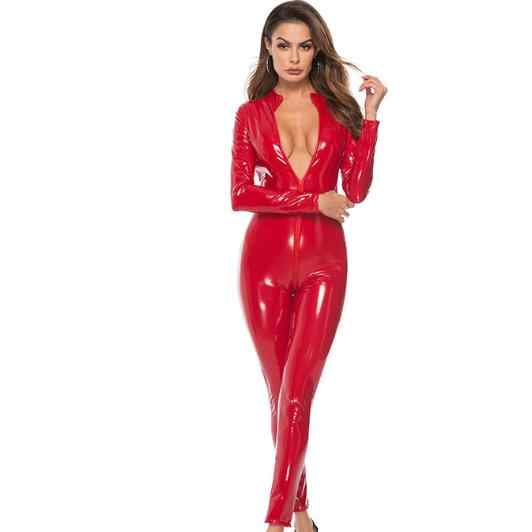 Комбинезон из искусственной кожи женский черный, красный, розовый открытый промежность PU кожаный комбинезон на молнии плюс размер 3XL полюс танец комбинезоны LJ881
