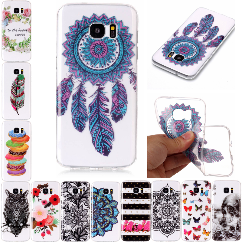 For Samsung Galaxy S7 Edge S7 Case Soft Silicone TPU Cover for Samsung S6 Edge S6 Transparent Painted Case for Galaxy S5 S 6 S 7 ...