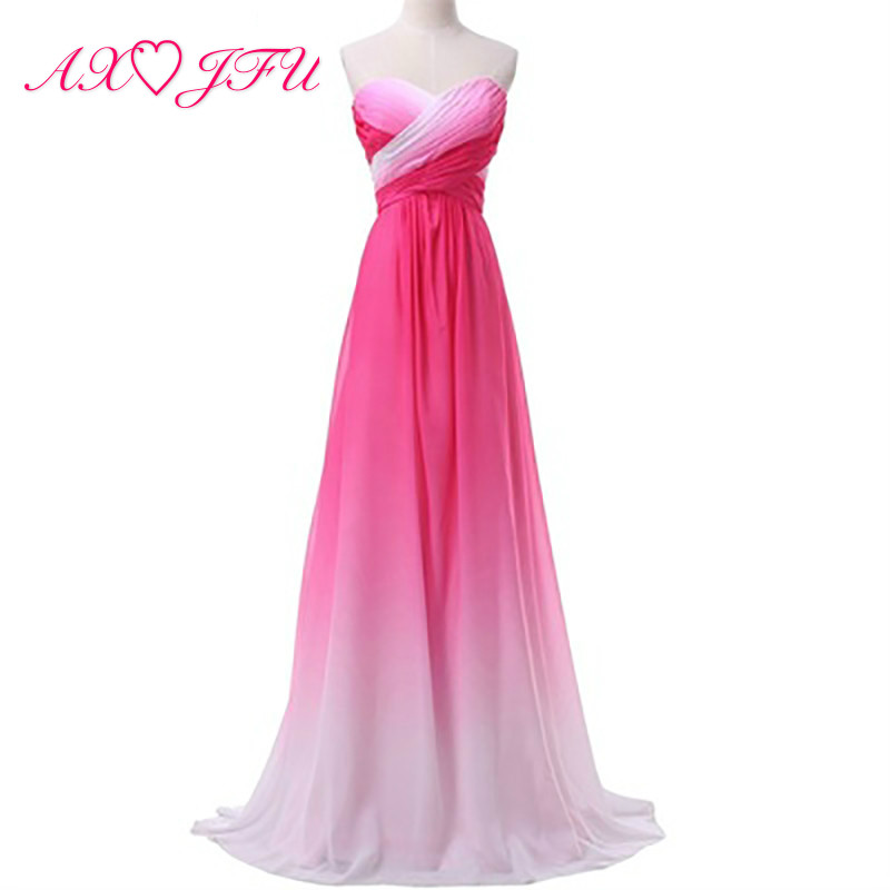 AXJFU green and white chiffon   Bridesmaid     Dress   princess blue chiffon strapless pink long beach   Bridesmaid     Dress