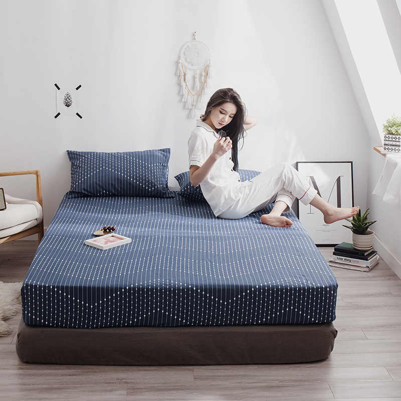 LAGMTA 1Pc 100% Cotton Printing Fitted Sheet Mattress Cover Sheet Four Corners With Elastic Bed Sheet