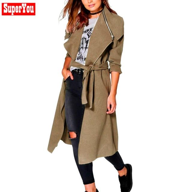 Superyou Cinto Das Mulheres Novas Outono Inverno Moda Longo Manto Sobretudo Kapuzen Do Hoodie Jacket Lady Parka Casaco Corta-vento Oct24