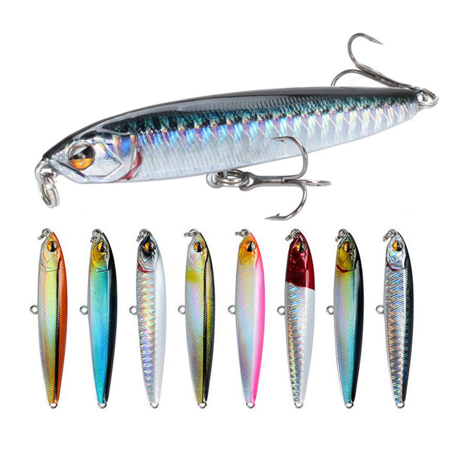 1Pcs Topwater Floating Pencil Fishing Lure 75mm 13.6g Sub Surface Dying Fish Lures Artificial Hard Bait Pesca Fishing Tackle