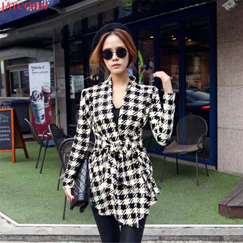 women jacket women basic coats plus size Korean Womens Houndstooth Pattern Thin Cardigan Coat Jacket Outwear TJ