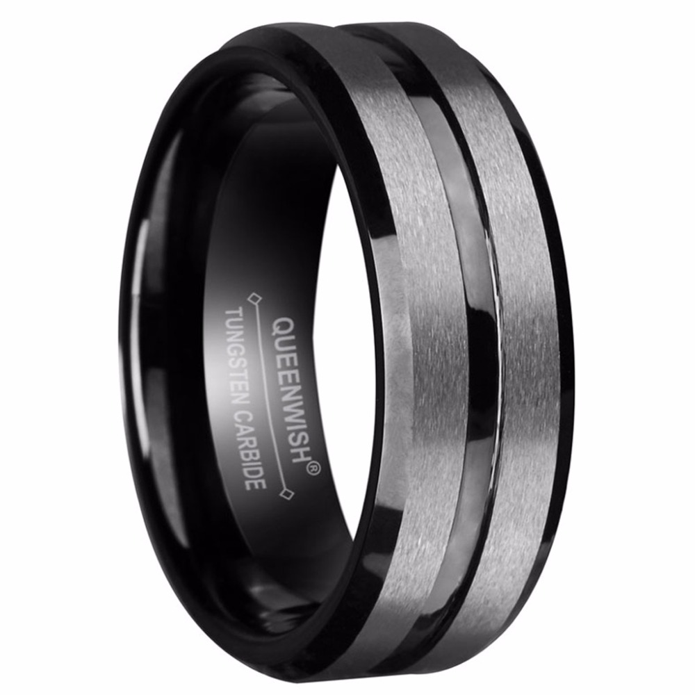 Queenwish 8mm Black Tungsten Ring Silver Brushed And Stripe Wedding Bands Promise Engagement Fashion Jewelry In Rings From Accessories
